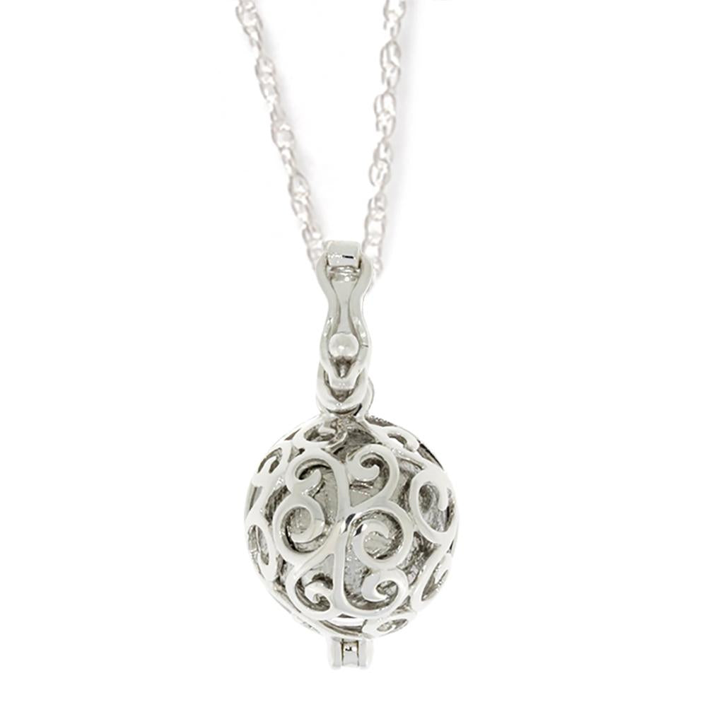 Spherical Meteorite Pendant with Milgrained Floral Pattern
