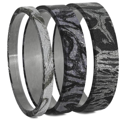 White Mokume Gane Inlays for Interchangeable Rings, 2MM, 5MM or 6MM-INTCOMP-MOK - Jewelry by Johan