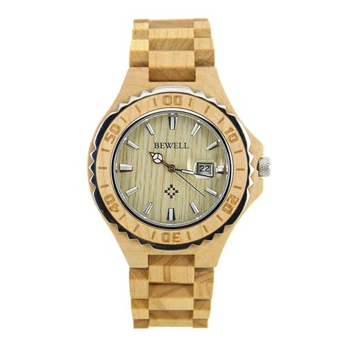 Maple Wood Watch With Wavy Stainless Steel Profile