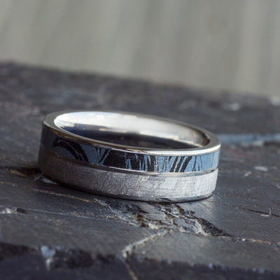 Blue Titanium Wedding Band, Meteorite Ring With Mokume Gane-2618