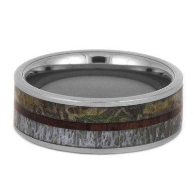 Tungsten Wedding Band With Antler, Camo And King Wood-3440 - Jewelry by Johan