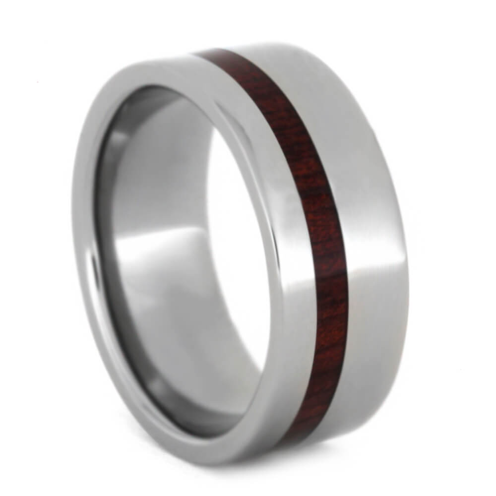 Titanium Wedding Ring With Bloodwood Wood Inlay