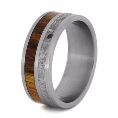 Caribbean Rosewood And Meteorite Men's Wedding Band-2036 - Jewelry by Johan