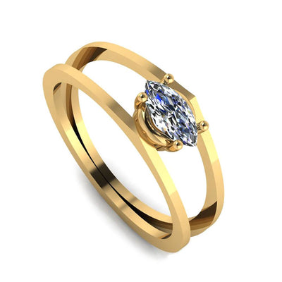 Yellow Gold Two Bar Marquise Diamond(1)