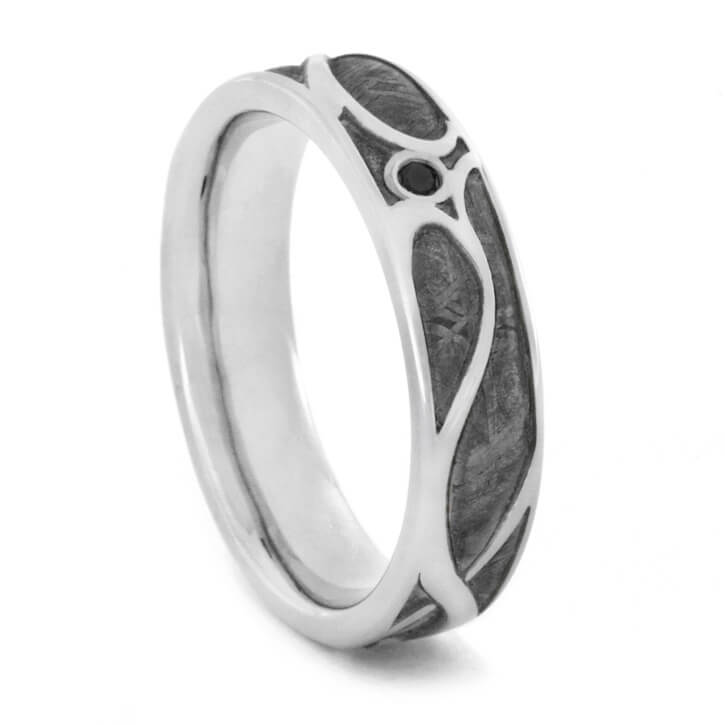 Meteorite Wedding Ring, 14k White Gold Art Nouveau Ring