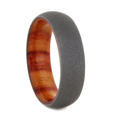Tulipwood Wedding Band With Sandblasted Titanium Overlay-SIG3001