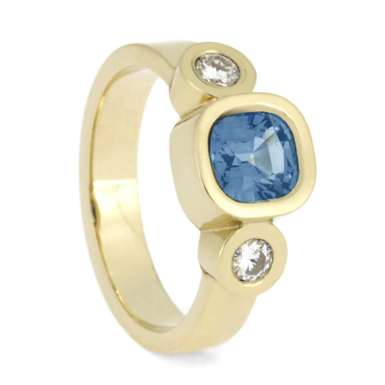 Aquamarine Engagement Ring With Moissanites in Yellow Gold-2715 - Jewelry by Johan