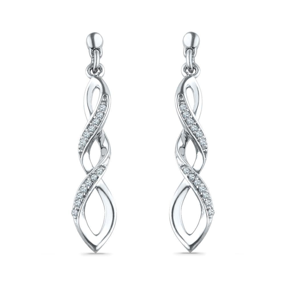 Drop Diamond Earrings, Silver or White Gold-SHEF015040BAW - Jewelry by Johan