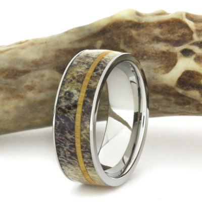 Deer Antler Ring with Oak Wood Pinstripe-1730 - Jewelry by Johan