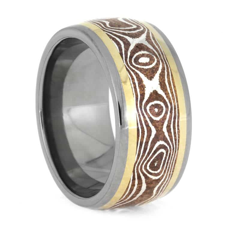 Copper Silver Mokume Ring With Yellow Gold Pinstripes, Size 8.5-RS10033 - Jewelry by Johan