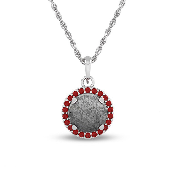 January Birthstone Pendant With Meteorite And Garnet On 14k White Gold Necklace-1677 - Jewelry by Johan