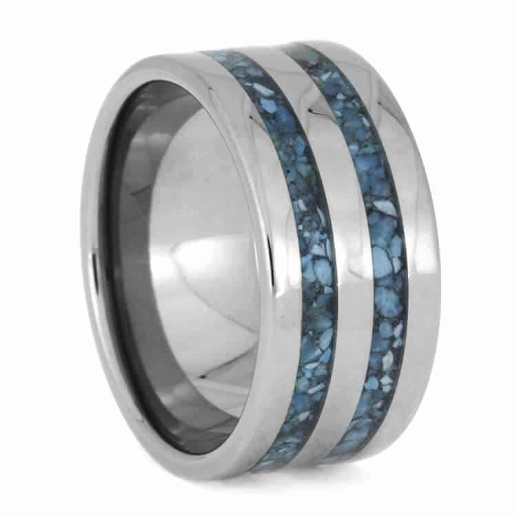 Titanium Ring With Two Crushed Turquoise Inlays, Size 8-RS10023 - Jewelry by Johan