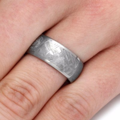 Sectioned Gibeon Meteorite Men's Wedding Band in Titanium-2109 - Jewelry by Johan