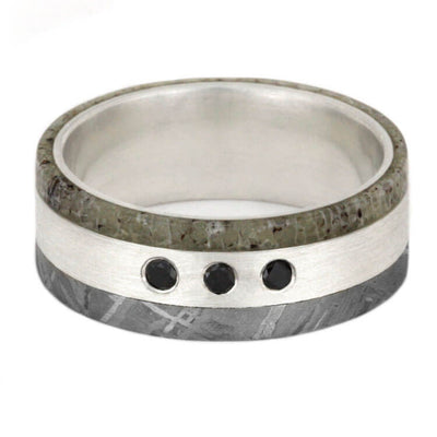 Male Ring With Meteorite And Diamonds