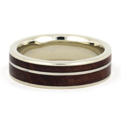 White Gold Wedding Band With Cedar Wood, Size 8.25-RS9110 - Jewelry by Johan