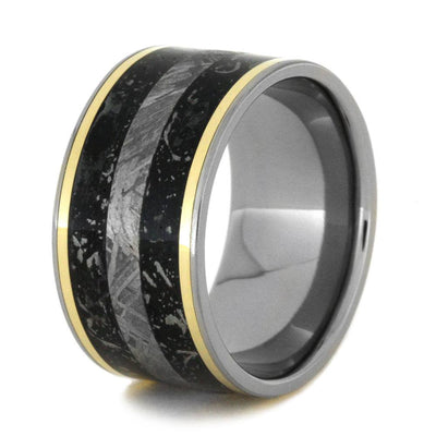 Meteorite wedding band with yellow gold