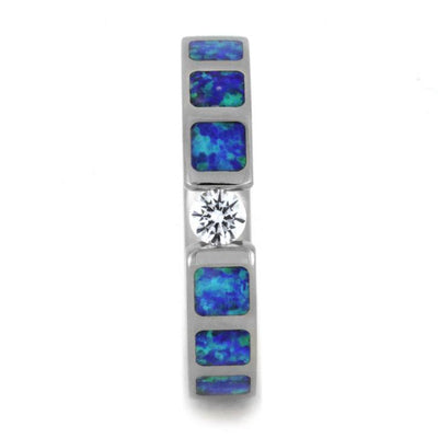 White Sapphire Partial Synthetic Opal Inlays Tension Titanium(2)