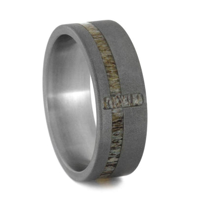 Deer Antler Cross Wedding Band