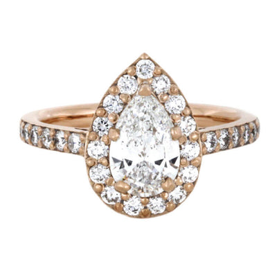 Pear Shaped Moissanite Engagement Ring, Diamond Halo Ring In Rose Gold-2309 - Jewelry by Johan