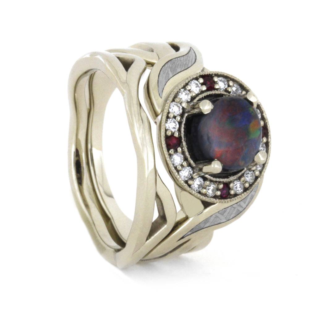 Opal Halo Engagement Ring Set With Diamond And Ruby Accents, 14K White Gold-3441 - Jewelry by Johan