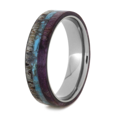 Women's Antler Wedding Band With Crushed Turquoise and Wood-2529 - Jewelry by Johan