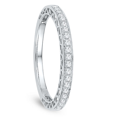 Ladies Diamond Wedding Band, Sterling Silver Ring