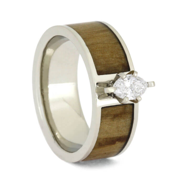 Marquise Diamond Engagement Ring With Rowan Wood Band in White Gold-3676 - Jewelry by Johan