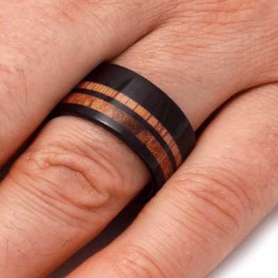 Finger Wearing Wide Wedding Band with Maple Wood