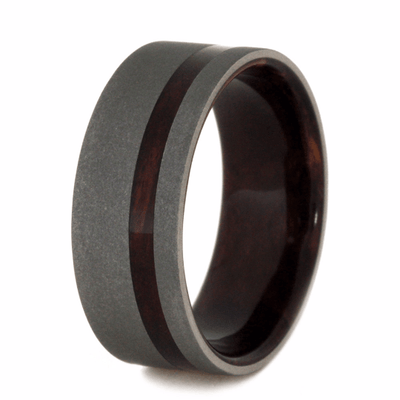 Sandblasted Titanium Wedding Band with Exotic Wood (3)