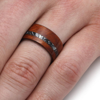 Amboyna Burl Wood Ring With Black and White Mokume Gane-2014 - Jewelry by Johan