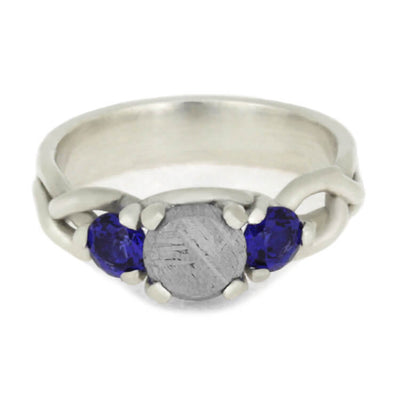 Meteorite Stone Engagement Ring With Blue Sapphires in Sterling Silver-3606 - Jewelry by Johan
