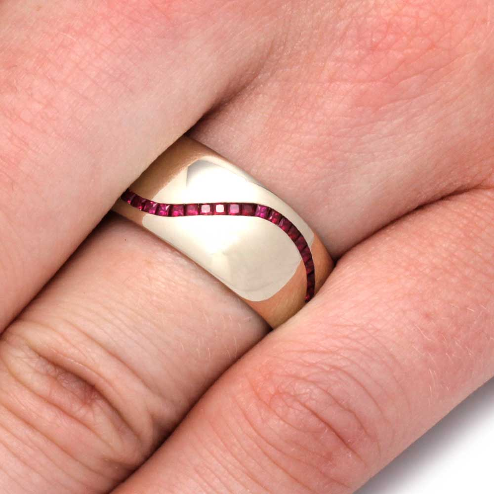 Ruby Wedding Band for Men in 14k White Gold, Custom Ring - Jewelry ...