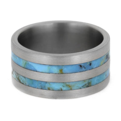 wide wedding band with turquoise