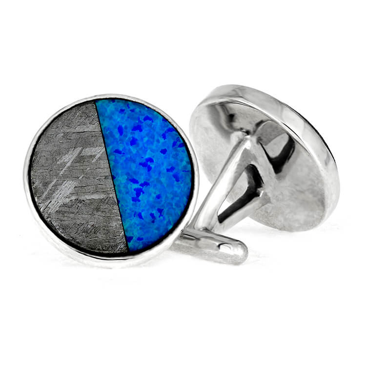 Synthetic Opal Cuff Links With Meteorite, Sterling Silver Jewelry-3644