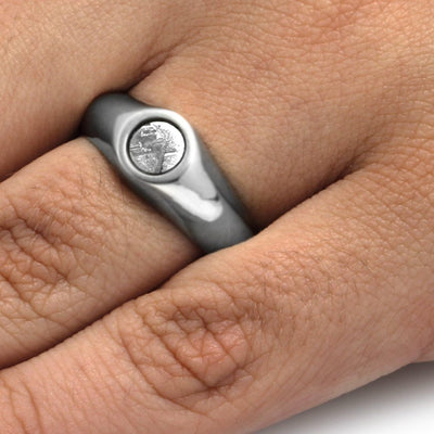 Meteorite Ring, White Gold Signet Ring with Gibeon Meteorite-3280 - Jewelry by Johan