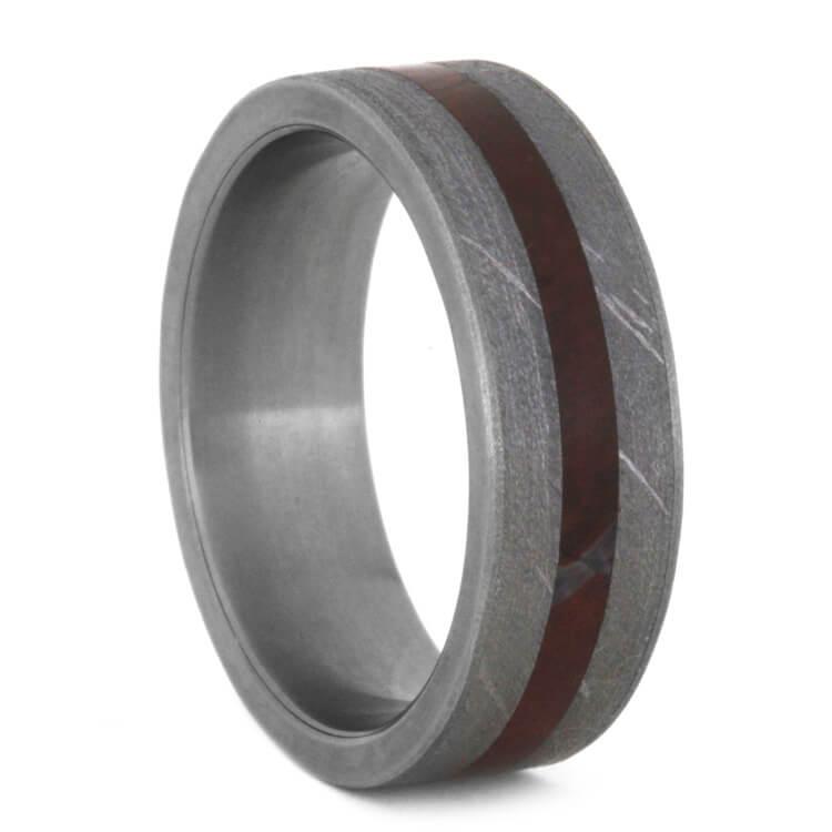 Petrified Wood And Meteorite Wedding Band, Size 9.25-RS9532 - Jewelry by Johan