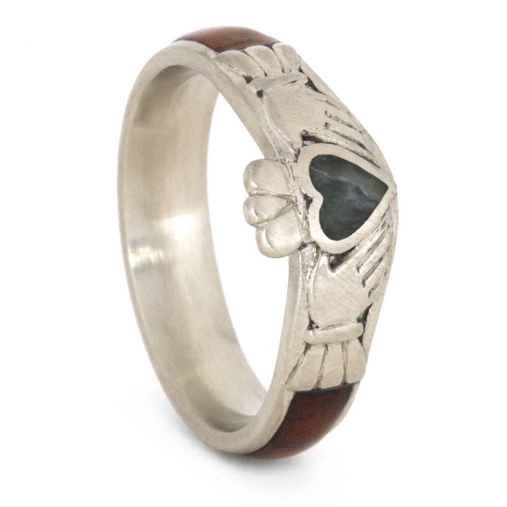 Claddagh Engagement Ring with Jade Heart, Honduran Rosewood Band-3222 - Jewelry by Johan