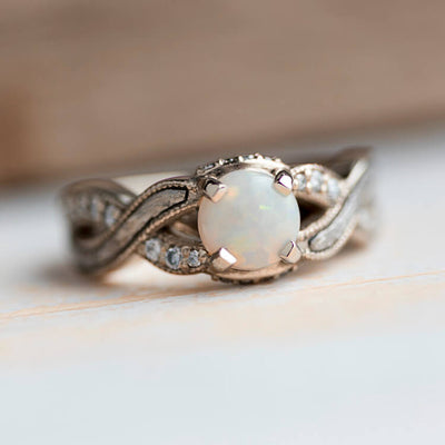 Opal Engagement Ring With Twist Band Featuring Diamond Accents And Meteorite Inlay-3678 - Jewelry by Johan