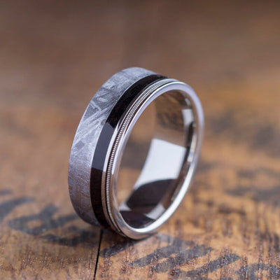 Guitar String Ring With Meteorite And Ebony Wood In Titanium-3404 - Jewelry by Johan