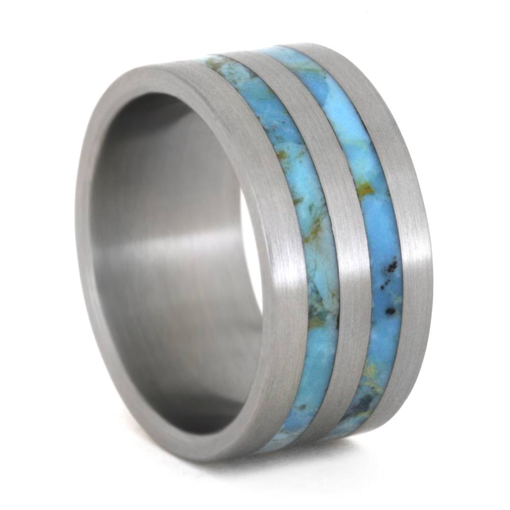 Turquoise Wedding Band in Titanium, Mens Wedding Ring-3333 - Jewelry by Johan