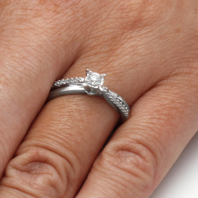 Diamond Engagement Ring in Sterling Silver On a Hand