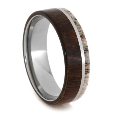 Titanium Ring with Natural Ironwood And Deer Antler
