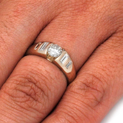 Moissanite and Diamond Engagement Ring in 14k White Gold-3211 - Jewelry by Johan