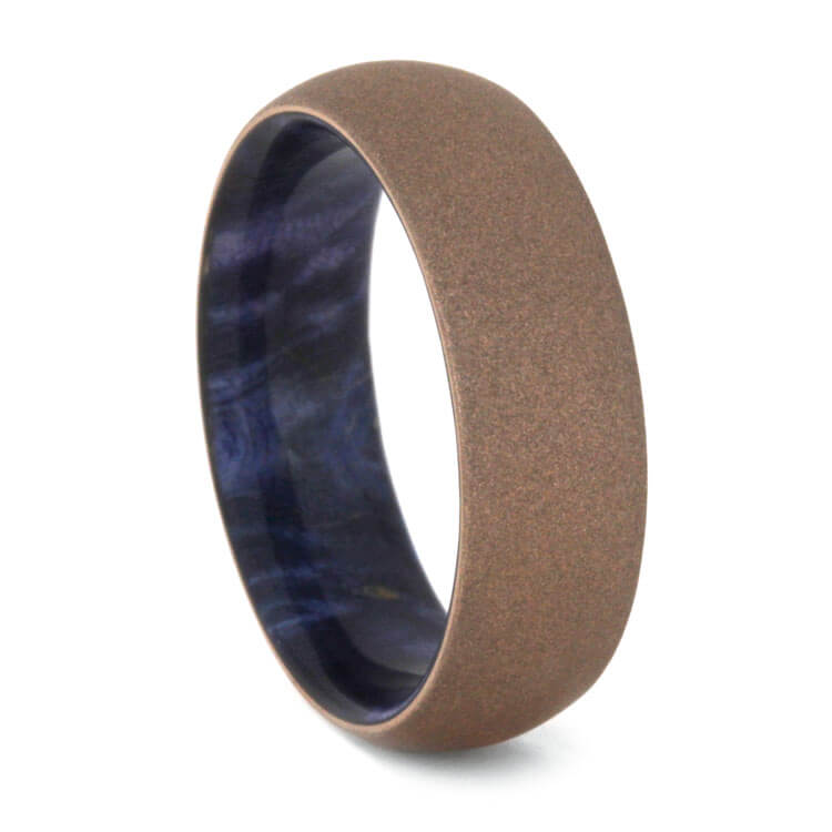 Sandblasted 14k Rose Gold Wedding Band With Blue Box Elder Sleeve-2271 - Jewelry by Johan