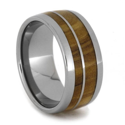 Olive Wood Wedding Band with Titanium Stripe-1924 - Jewelry by Johan
