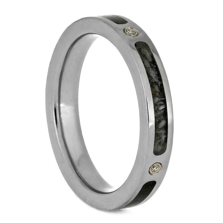 Diamond Women's Wedding Band With Deer Antler And Dinosaur Bone