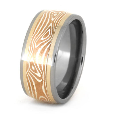 Copper and Silver Mokume Ring, Titanium Wedding Band-3393 - Jewelry by Johan