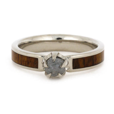 Rough Diamond Engagement Ring with Ironwood Inlay-3235 - Jewelry by Johan