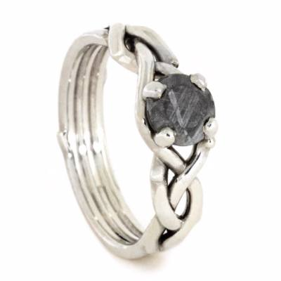Meteorite Wedding Ring Set with Wedding Band and Engagement Ring-2539 - Jewelry by Johan