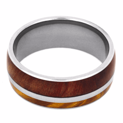Titanium Wedding Band With Two Different Wood Species-2154 - Jewelry by Johan